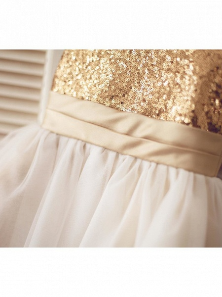 A-Line Knee Length Pageant Flower Girl Dresses - Tulle / Sequined Sleeveless Jewel Neck With Bow(S) / Sequin_8