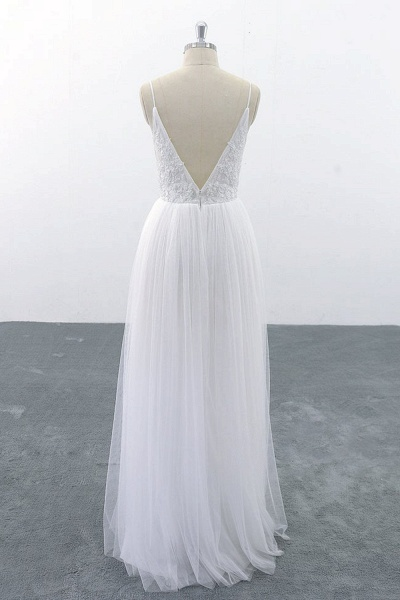 SD1955 Spaghetti Strap Pearls Boho Wedding Dress_4
