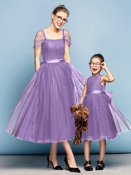 Princess Tea Length Party / Prom / Formal Evening Flower Girl Dresses - Tulle Short Sleeve Square Neck With Bow(S) / Ruched / Elegant_43