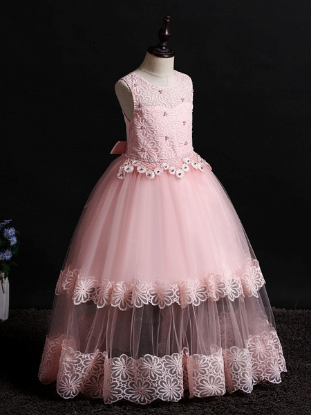 Princess Floor Length Wedding / Birthday Lace / Tulle / Polyester Sleeveless Jewel Neck With Lace / Bow(S) / Pearls_7