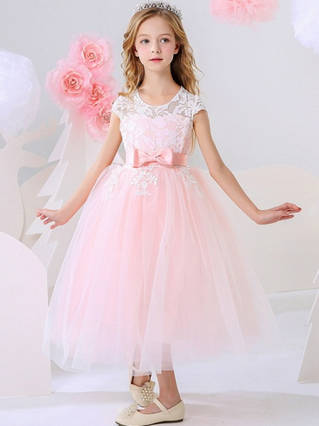 Ball Gown Ankle Length Event / Party / Birthday Flower Girl Dresses - Polyester Short Sleeve Jewel Neck With Bow(S) / Appliques_4