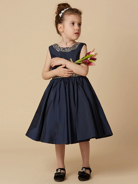 A-Line Knee Length Pageant Flower Girl Dresses - Taffeta Sleeveless Jewel Neck With Beading / Crystal Brooch_4