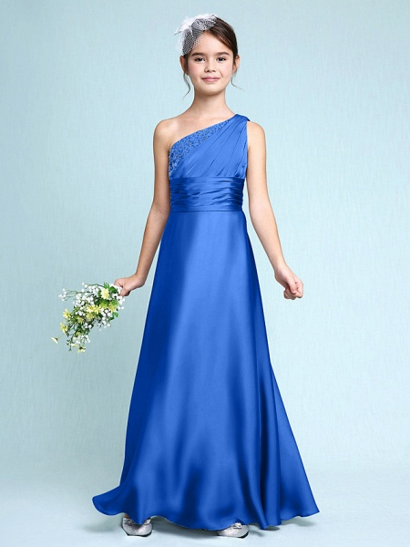 Sheath / Column One Shoulder Floor Length Chiffon Satin Junior Bridesmaid Dress With Ruched / Side Draping / Natural_34