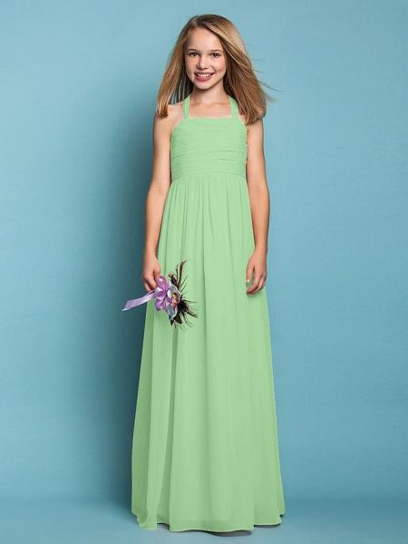 Sheath / Column Halter Neck Floor Length Chiffon Junior Bridesmaid Dress With Ruched / Spring / Summer / Fall / Apple / Hourglass_29