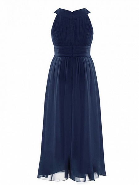 A-Line Round Floor Length Chiffon / Sequined Junior Bridesmaid Dress With Beading / Ruching_7