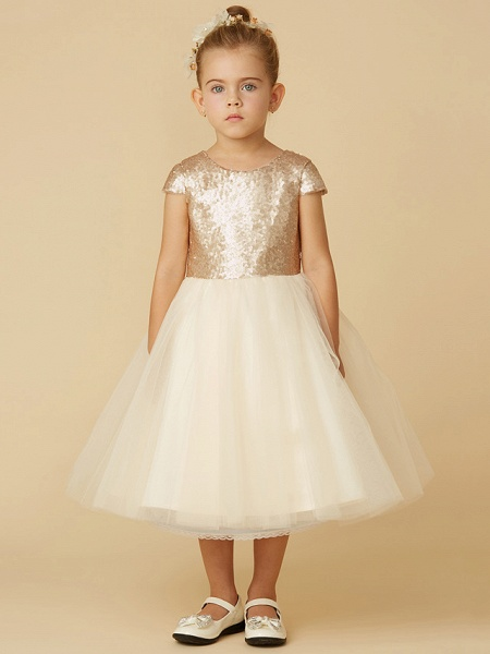 Princess Tea Length Pageant Flower Girl Dresses - Tulle / Sequined Short Sleeve Jewel Neck With Sash / Ribbon / Bow(S) / Sequin_4