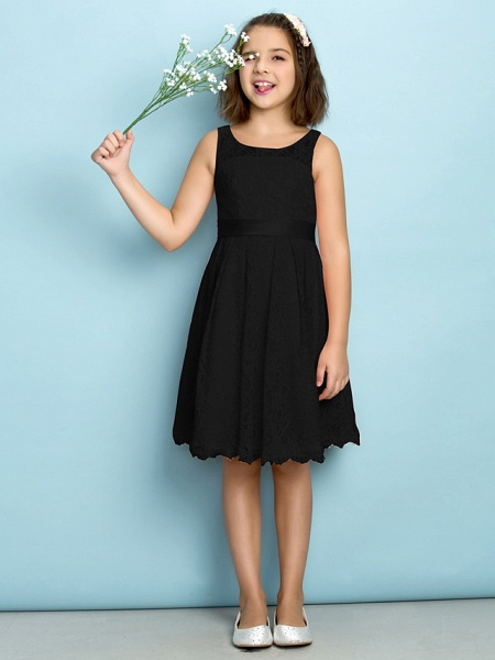 A-Line Scoop Neck Knee Length All Over Floral Lace Junior Bridesmaid Dress With Lace / Natural / Mini Me_38