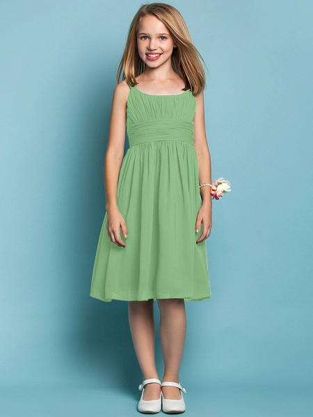 Sheath / Column Straps Knee Length Chiffon Junior Bridesmaid Dress With Ruched / Draping / Spring / Summer / Fall / Apple / Hourglass_28
