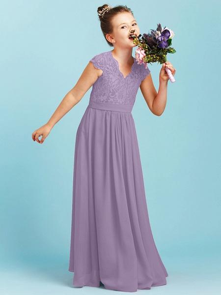 Princess / A-Line V Neck Floor Length Chiffon / Lace Junior Bridesmaid Dress With Sash / Ribbon / Pleats / Wedding Party_29