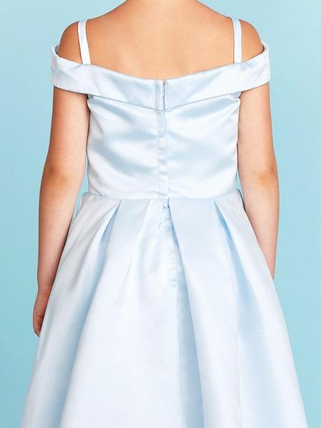 Princess / A-Line Off Shoulder Tea Length Satin Junior Bridesmaid Dress With Pleats_10