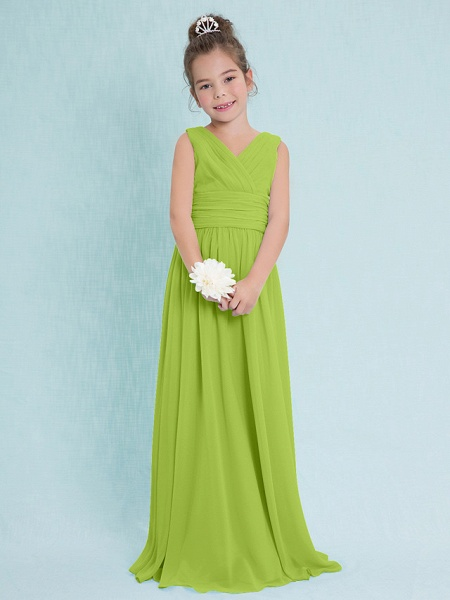 Sheath / Column V Neck Floor Length Chiffon Junior Bridesmaid Dress With Criss Cross / Ruched / Natural_27