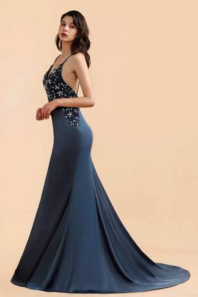 Spaghetti Strap Beaded Navy Blue Mermaid Backless Prom Dress_4