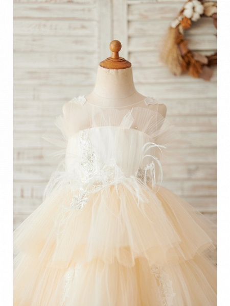 Ball Gown Knee Length Wedding / Birthday Flower Girl Dresses - Tulle Sleeveless Jewel Neck With Feathers / Fur / Lace / Beading_3