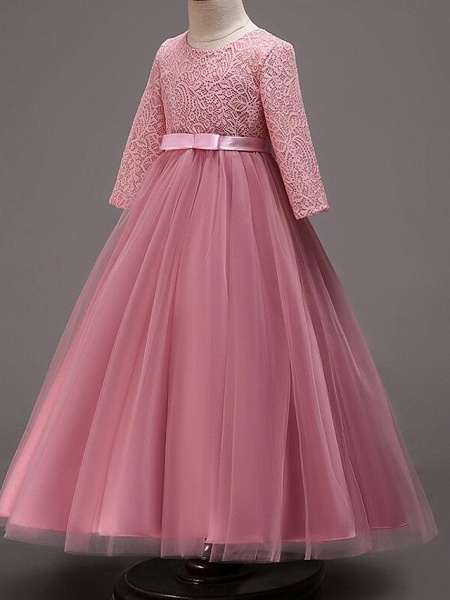Princess Floor Length Wedding / Party / Pageant Flower Girl Dresses - Lace / Tulle / Cotton Half Sleeve Jewel Neck With Lace / Belt_13