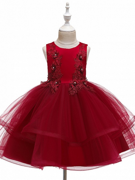 A-Line Knee Length Wedding / Party / Pageant Flower Girl Dresses - Tulle / Matte Satin / Poly&Cotton Blend Sleeveless Jewel Neck With Beading / Solid_9