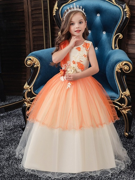 Princess / Ball Gown Floor Length Wedding / Party Flower Girl Dresses - Tulle Sleeveless Jewel Neck With Bow(S) / Appliques_2