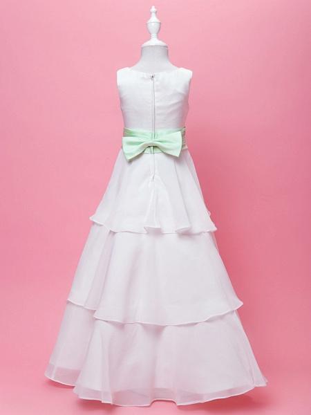 Princess / A-Line Floor Length Wedding / First Communion Chiffon / Satin Sleeveless Scoop Neck With Sash / Ribbon / Bow(S) / Draping / Spring / Fall / Winter_3