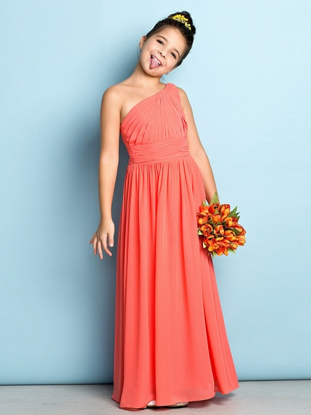 A-Line One Shoulder Ankle Length Chiffon Junior Bridesmaid Dress With Side Draping / Natural / Mini Me_3