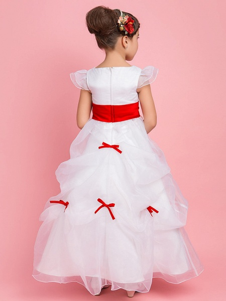 Princess / Ball Gown / A-Line Floor Length First Communion / Wedding Party Organza Short Sleeve Jewel Neck With Pick Up Skirt / Sash / Ribbon / Bow(S) / Spring / Fall / Winter_4