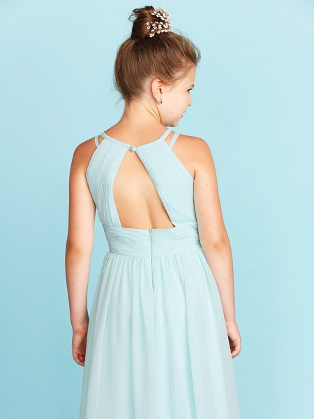 Princess / A-Line Jewel Neck Floor Length Chiffon Junior Bridesmaid Dress With Ruched / Side-Draped / Wedding Party / Open Back_6