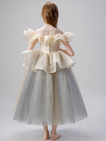 A-Line Floor Length Party / Birthday Flower Girl Dresses - Satin / Tulle Sleeveless Jewel Neck With Ruffles / Paillette_6
