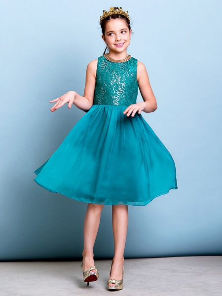 A-Line Jewel Neck Knee Length Chiffon / Sequined Junior Bridesmaid Dress With Sequin_3