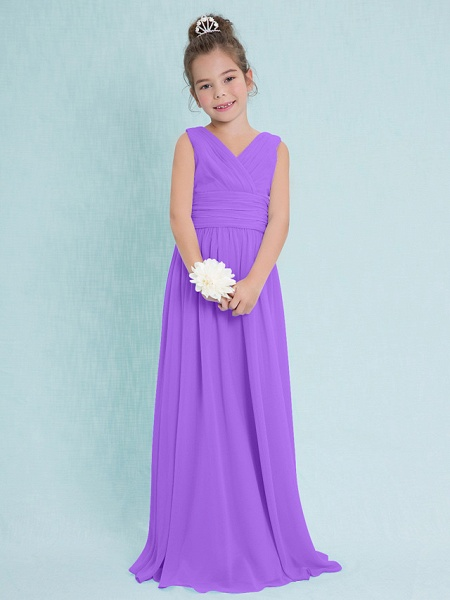 Sheath / Column V Neck Floor Length Chiffon Junior Bridesmaid Dress With Criss Cross / Ruched / Natural_29