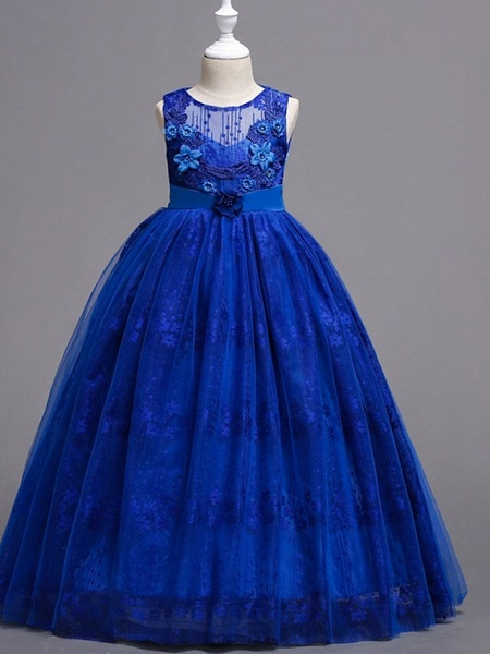 Princess / Ball Gown Floor Length Wedding / Party Flower Girl Dresses - Tulle Sleeveless Jewel Neck With Bow(S) / Appliques_3