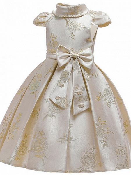 Ball Gown Ankle Length Pageant Flower Girl Dresses - Polyester Short Sleeve Jewel Neck With Bow(S) / Appliques_3