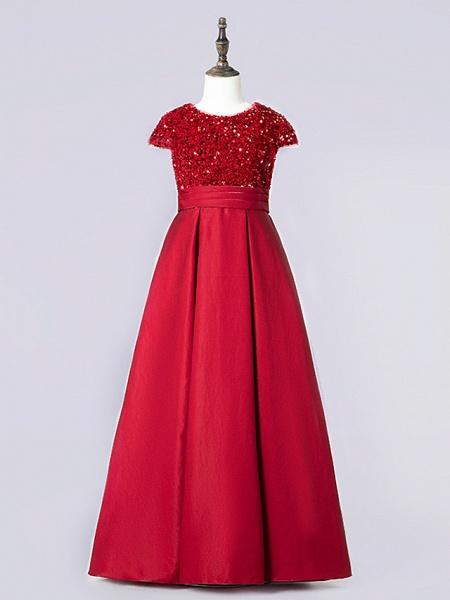 Sheath / Column Floor Length Event / Party / Birthday Flower Girl Dresses - Satin / Sequined Cap Sleeve Jewel Neck With Pleats_4