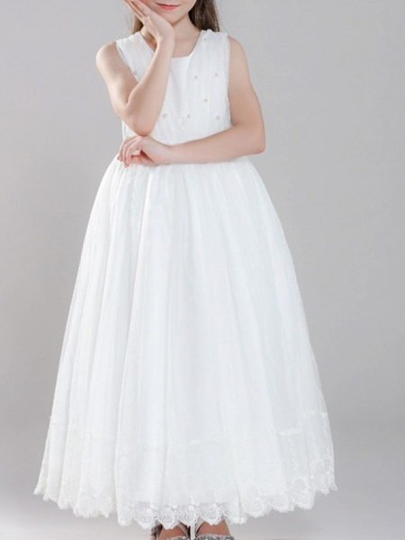 A-Line Ankle Length First Communion Flower Girl Dresses - Polyester Sleeveless Jewel Neck With Pearls_3