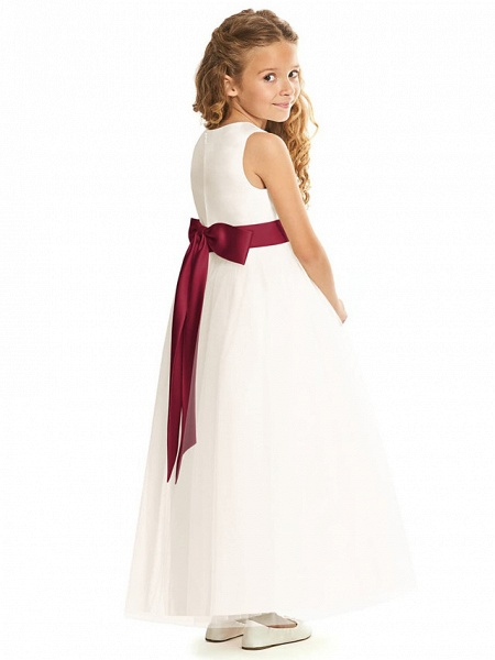 A-Line Floor Length Wedding / Party Flower Girl Dresses - Tulle Sleeveless Jewel Neck With Pleats / Solid_2