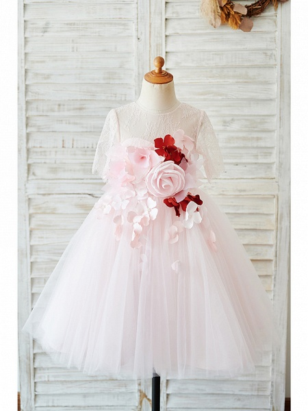 Ball Gown Knee Length Wedding / Birthday Flower Girl Dresses - Lace / Tulle Sleeveless Jewel Neck With Petal / Pearls_1