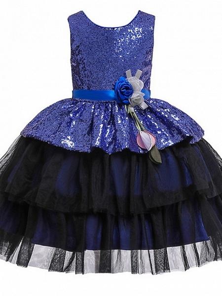 Ball Gown Floor Length Birthday / Formal Evening Flower Girl Dresses - Polyester Sleeveless Jewel Neck With Sash / Ribbon / Paillette_2