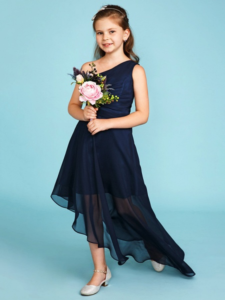 A-Line One Shoulder Asymmetrical Chiffon Junior Bridesmaid Dress With Side Draping / Wedding Party_1