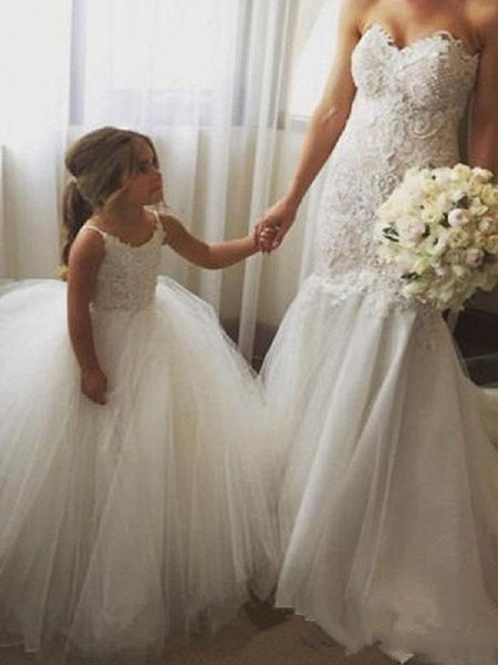 Princess Long Length Wedding / Birthday / Pageant Flower Girl Dresses - Tulle / Cotton Sleeveless Jewel Neck With Lace / Appliques_3