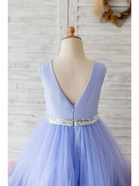 Ball Gown Knee Length Wedding / Birthday Flower Girl Dresses - Satin / Tulle Sleeveless Jewel Neck With Belt / Ruffles_4