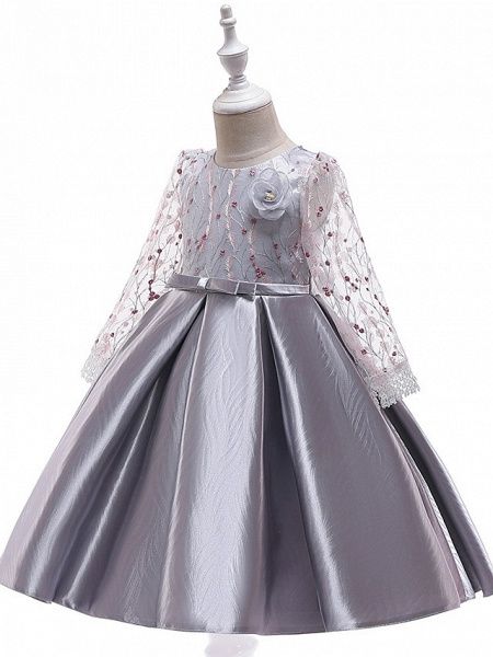 A-Line Knee Length Wedding / Birthday / Pageant Flower Girl Dresses - Cotton Blend Long Sleeve Jewel Neck With Petal / Sash / Ribbon / Embroidery_4