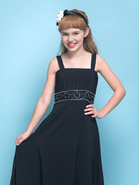 A-Line Straps Floor Length Chiffon Junior Bridesmaid Dress With Criss Cross / Ruched / Beading / Empire_5