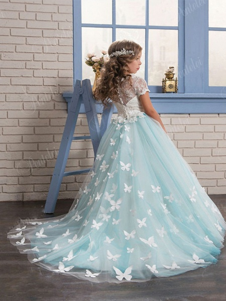 Ball Gown Sweep / Brush Train Wedding / Birthday / Pageant Flower Girl Dresses - Tulle / Cotton Short Sleeve Jewel Neck With Lace / Embroidery / Appliques_3