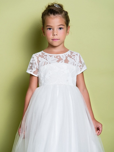 A-Line Tea Length Wedding / First Communion Flower Girl Dresses - Lace / Tulle Short Sleeve Jewel Neck With Lace_6
