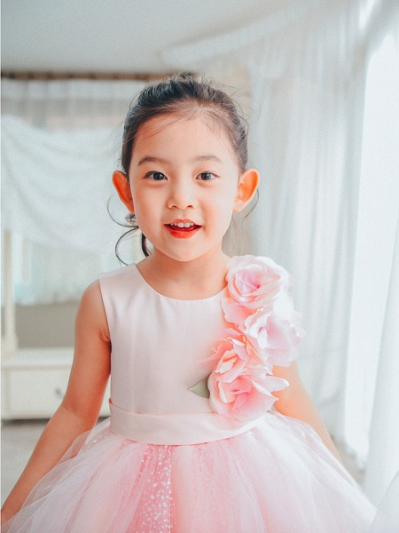 Ball Gown Asymmetrical Wedding / Birthday / Pageant Flower Girl Dresses - Satin / Tulle Sleeveless Jewel Neck With Petal_3