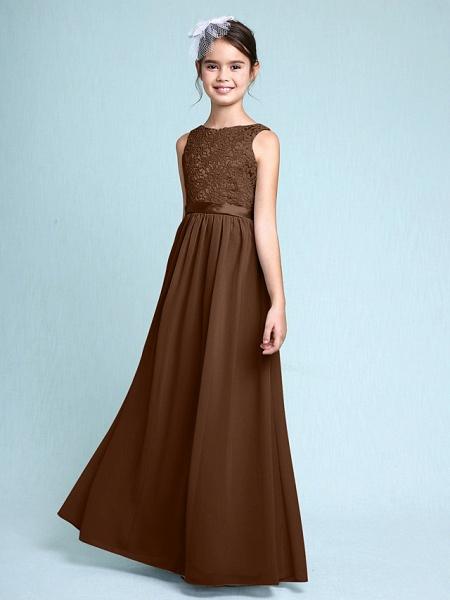 Sheath / Column Bateau Neck Floor Length Chiffon / Lace Junior Bridesmaid Dress With Lace / Natural_24