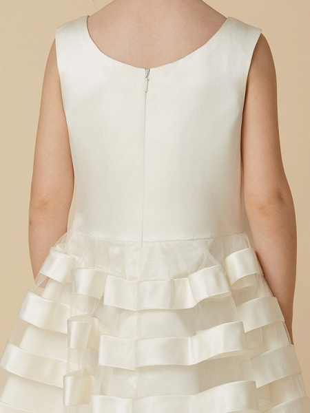 A-Line Tea Length Wedding / First Communion Flower Girl Dresses - Satin / Tulle Sleeveless Jewel Neck With Bow(S)_8
