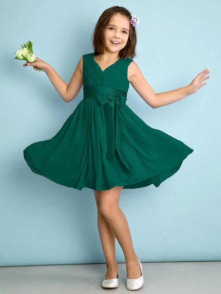 A-Line V Neck Knee Length Chiffon Junior Bridesmaid Dress With Bow(S) / Criss Cross / Natural_25