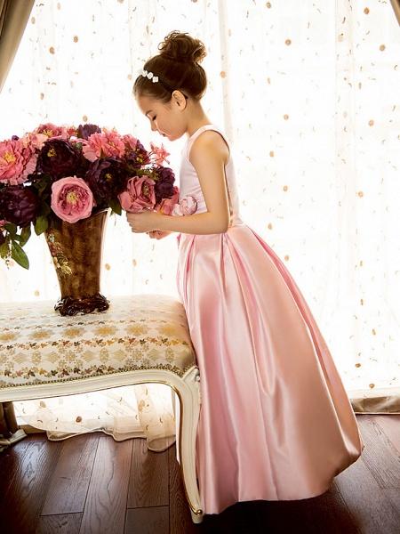 Princess / A-Line Floor Length First Communion Flower Girl Dresses - Satin Sleeveless Jewel Neck With Sash / Ribbon / Flower_5