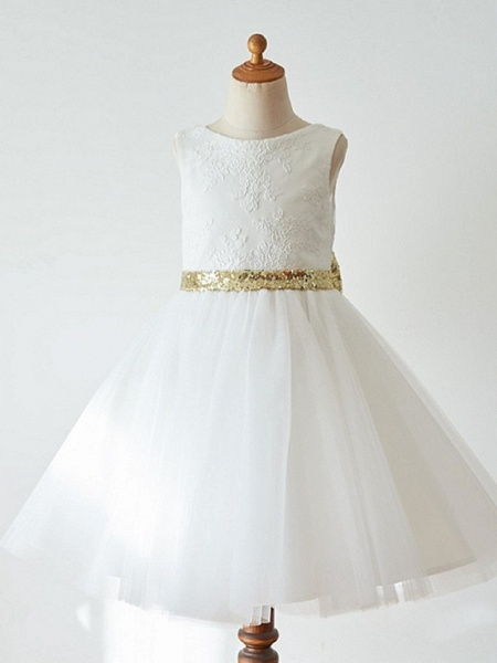 Ball Gown Knee Length Wedding / First Communion / Pageant Flower Girl Dresses - Lace / Tulle Sleeveless Jewel Neck With Bow(S)_6