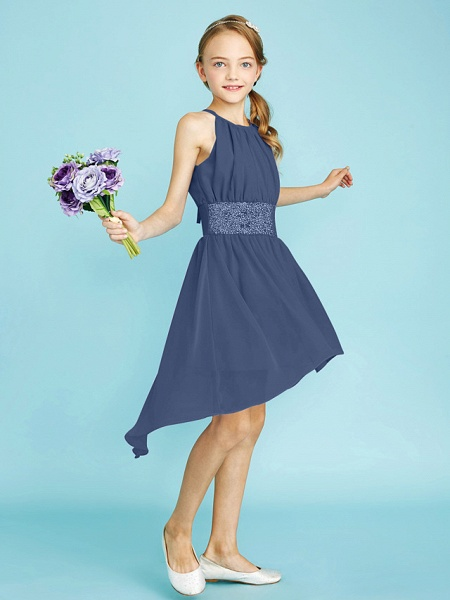 Sheath / Column Jewel Neck Asymmetrical Chiffon Junior Bridesmaid Dress With Sequin / Natural_12