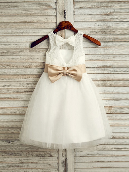 Princess Tea Length Wedding / First Communion Flower Girl Dresses - Lace / Tulle / Satin Chiffon Sleeveless Jewel Neck With Belt_1