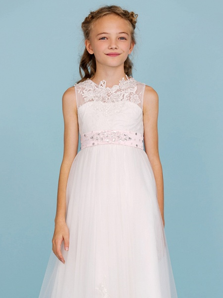 Princess / A-Line Crew Neck Ankle Length Lace Over Tulle Junior Bridesmaid Dress With Sash / Ribbon / Beading / Appliques / Wedding Party / Open Back_7